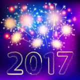 Fireworks for happy new year 2017. Jn blue background Royalty Free Stock Images
