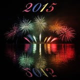2015  with fireworks. Happy New Year 2015  with fireworks on lake Stock Image