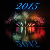 2015  with fireworks. Happy New Year 2015  with fireworks on lake Stock Photos