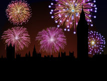 Fireworks Happy New Year London city. Big Ben and House of Parliament scene Stock Photo