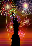 Fireworks Happy New Year NEW YORK city. Night liberty statue scene Stock Photo