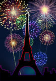 Fireworks Happy New Year Paris city. Night Tour Eiffel scene Stock Photos