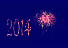 Fireworks Happy New Year 2014 Royalty Free Stock Photo