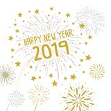 Fireworks with Happy new year 2019 on white background. Vector illustration vector illustration