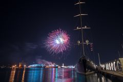 Fireworks in the harbour of zakynthos. Beautiful royalty-free stock photography. fireworks in the harbour of zakynthos Royalty Free Stock Photography