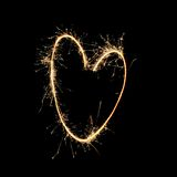 Fireworks: Heart by flame. Heart love Fireworks flame birthday festival splendid Stock Photography