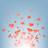 Fireworks of hearts on a blue background,. Vector Stock Images