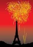 Fireworks Higher Than Tower_eps. Fireworks higher than tower with red sky Royalty Free Stock Photos