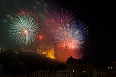 Fireworks on the hill of Fourviere Royalty Free Stock Images