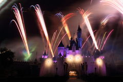 Fireworks HK Disneyland. Fireworks in front of the sleeping beauty castle at the HK Disneyland theme park Stock Photo