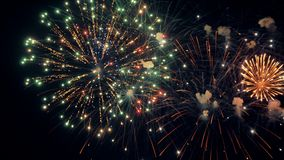 Fireworks. Holiday celebration. Colorful fireworks at holiday night. 4K UHD