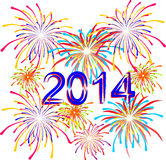 Fireworks for the holiday on the new 2014. Vector illustration Stock Photo