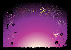 Fireworks, holiday night. Vector illustration Stock Photos
