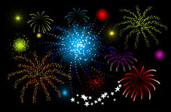 Fireworks, holiday night. Vector illustration Royalty Free Stock Photo