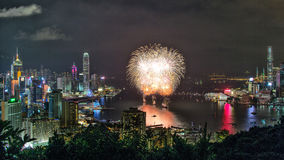 Fireworks in Hong Kong, 2016. Fireworks Night Scenes of Hong Kong Photographed from Sir Cecil's Ride stock images