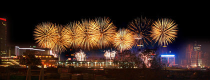 Fireworks in Hong Kong Victoria Harbor. Chinese New Year fireworks in Hong Kong Victoria Harbor Royalty Free Stock Photography