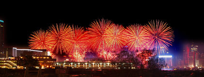 Fireworks in Hong Kong Victoria Harbor Royalty Free Stock Photography