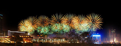 Fireworks in Hong Kong Victoria Harbor Royalty Free Stock Images