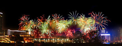 Fireworks in Hong Kong Victoria Harbor Royalty Free Stock Photo