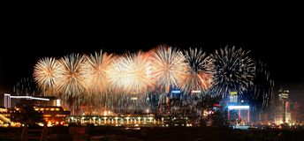 Fireworks in Hong Kong Victoria Harbor Stock Photography