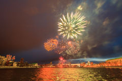 Fireworks in honor of the victory. Yekaterinburg, Russia Stock Image