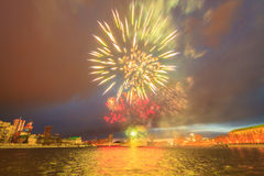 Fireworks in honor of the victory. Yekaterinburg, Russia Stock Photos