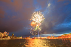 Fireworks in honor of the victory. Yekaterinburg, Russia Royalty Free Stock Photo