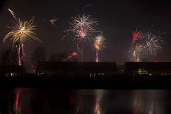 Fireworks in Hoogeveen Stock Images