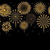Fireworks horizontal border. Hand drawn seamless vector horizontal border with bright golden fireworks, on a black background. Design concept for birthday party Stock Images