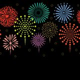 Fireworks horizontal border. Hand drawn seamless vector horizontal border with colorful fireworks, on a black background. Design concept for birthday party, New Royalty Free Stock Photos