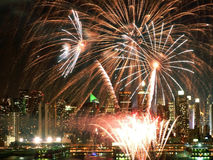 fireworks hudson over Στοκ Φωτογραφίες