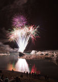 Fireworks at icelake Jokulsarlon Royalty Free Stock Images