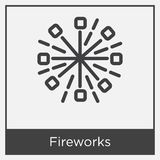 Fireworks icon isolated on white background. With gray frame, sign and symbol Stock Photo