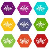 Fireworks icon set color hexahedron. Fireworks icon set many color hexahedron isolated on white vector illustration Stock Images