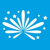 Fireworks icon white. Isolated on blue background vector illustration Royalty Free Stock Photos