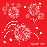 Fireworks icons. With background red Stock Image