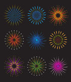 Fireworks icons set. Fireworks vector on black background. Holiday and party firework icons collection. Vector illustration.  Stock Image