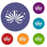 Fireworks icons set. In flat circle reb, blue and green color for web Royalty Free Stock Photography