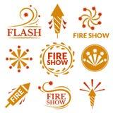 Fireworks icons vector illustration. Fireworks icons, Fire show logo, holiday vector illustration Stock Photos