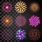 Fireworks icons vector set. Fireworks icons detailed photo realistic vector set Stock Photo