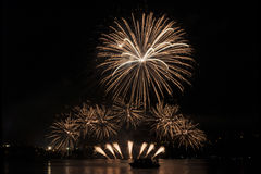 Fireworks Ignis Brunensis - Nanos Fireworks. International fireworks competentions Ignis Brunensis in Brno, Czech Republic Royalty Free Stock Photo