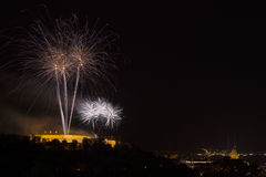 Fireworks Ignis Brunensis on Spilberk Castle. International fireworks competentions Ignis Brunensis in Brno, Czech Republic Royalty Free Stock Photography