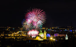 Fireworks illuminate the sky over Charles bridge, Czech Republic Royalty Free Stock Photography