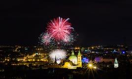 Fireworks illuminate the sky over Charles bridge, Czech Republic stock image