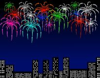 Fireworks illustration. Illustration of fireworks above city buildings with space for text Stock Images