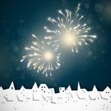 Fireworks. Illustration of a Colorful Firework above the City Stock Photo