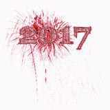 2017 fireworks illustration red grunge numbers Stock Photography