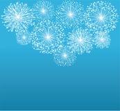 Fireworks. Illustration of white fireworks on blue background Stock Images