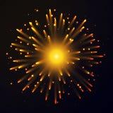 Fireworks. Illustration of yellow Fireworks on dark background Stock Photography