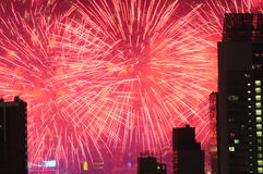 Fireworks In Hong Kong Harbour Royalty Free Stock Photography